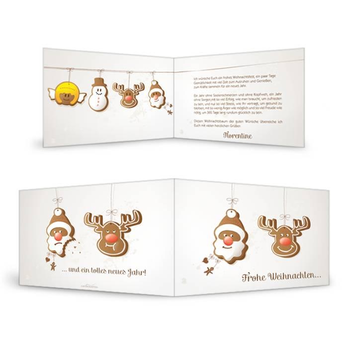 Süße Weihnachtskarte mit Lebkuchenmotiv selbst gestalten