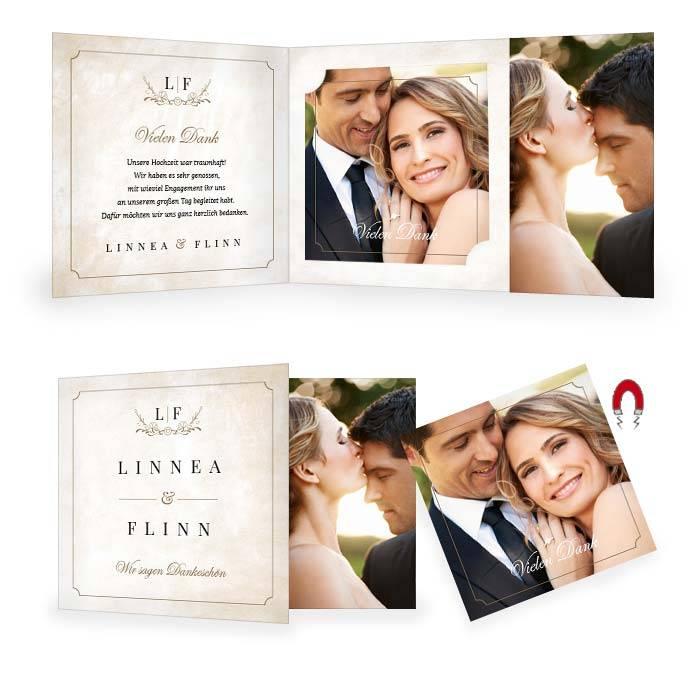 Danksagung zur Hochzeit mit Magnetbild im Shabby Chic Design