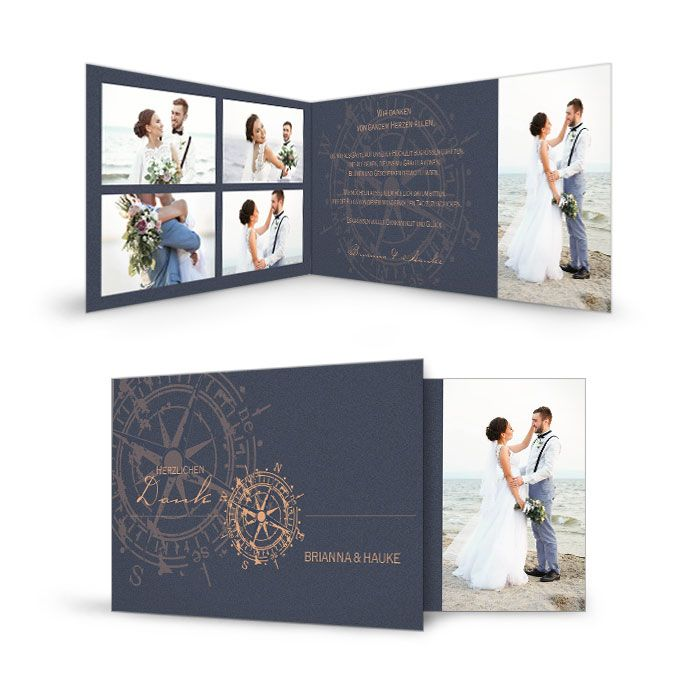 Maritime Hochzeitsdanksagung in Blau mit kupferfarbenen Kompass