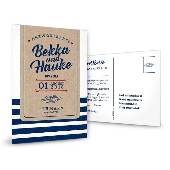 Maritime Antwortkarte zur Hochzeit im Packpapier-Stil