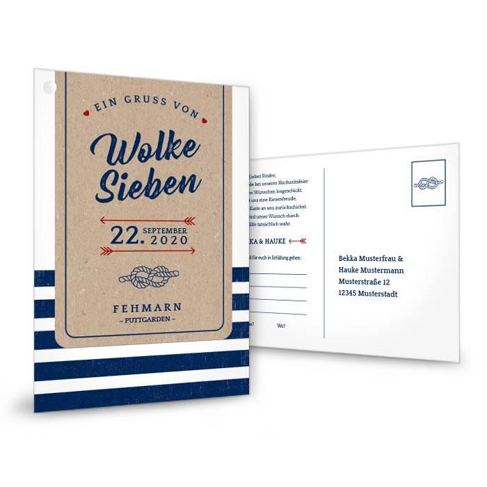 Maritime Ballonkarte zur Hochzeit im Packpapier-Stil