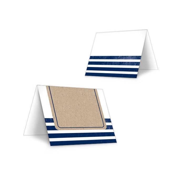 Maritime Tischkarte zur Hochzeit mit Kraftpapier-Optik und Streifen