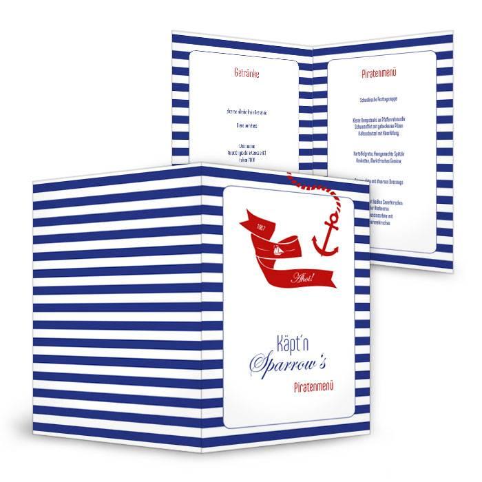 Maritime Menükarte zum Geburtstag für Kapitäne