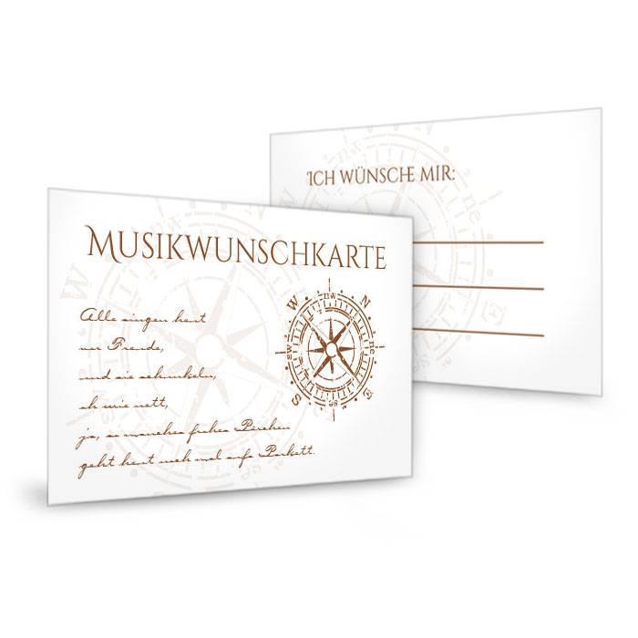 Musikwunschkarte zur maritimen Hochzeit mit Kompass in Braun