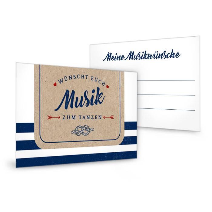 Maritime Musikwunschkarte zur Hochzeit in Kraftpapier-Optik