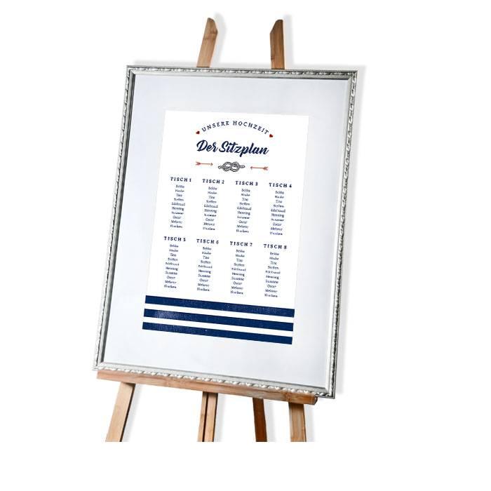 Maritimer Tischplan zur Hochzeit mit blauen Streifen