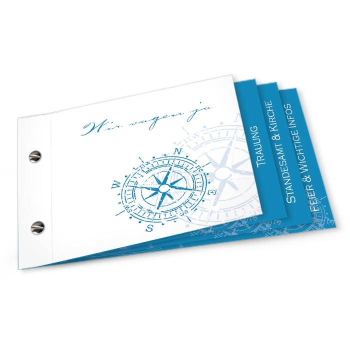 Maritime Hochzeitseinladung als Booklet mit Kompass in Blau