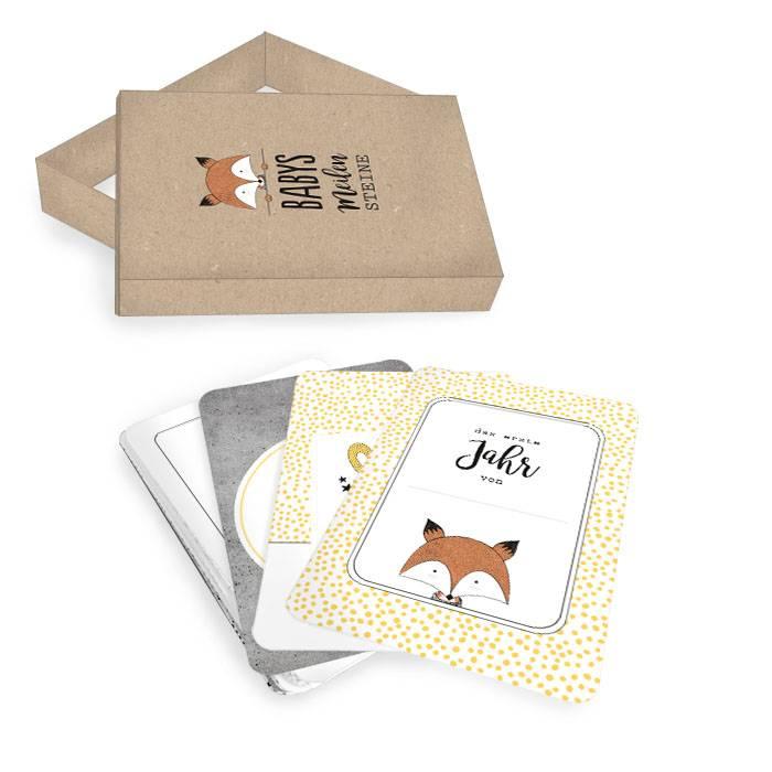 Meilensteinkarten Box für Babys erstes Jahr: Design Fuchs