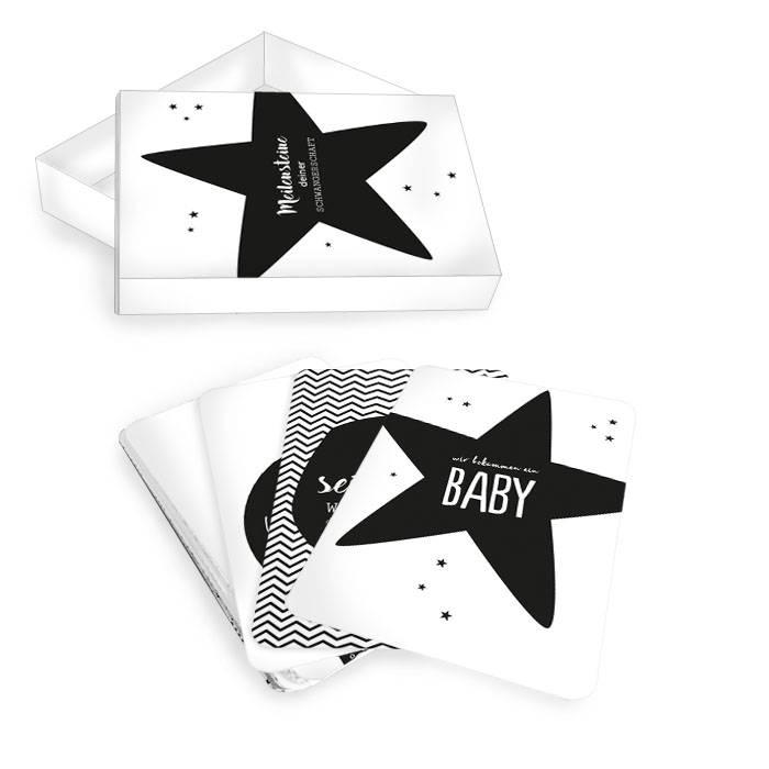 Meilensteinkarten für die Schwangerschaft in Black and White