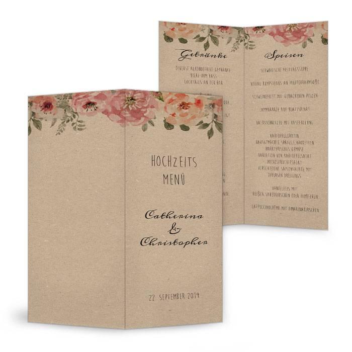 Cocktail-Menükarte in Kraftpapieroptik mit Aquarellblumen