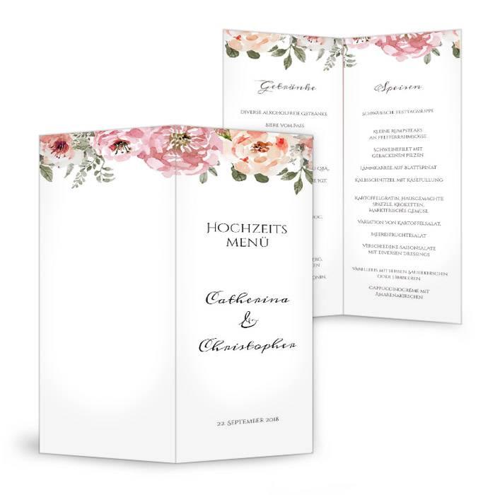 Vintage Cocktail-Menükarte zur Hochzeit mit Aquarellblumen