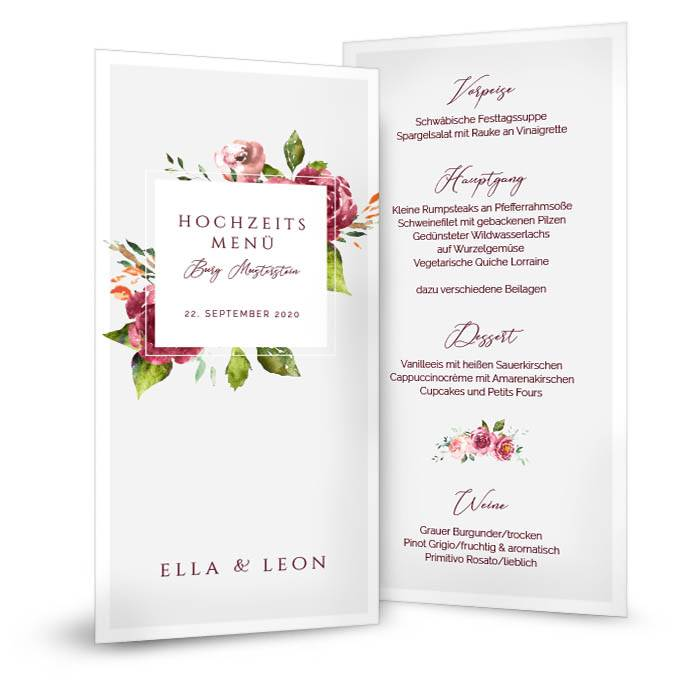 Hochzeitsmenü mit Watercolor Blumen hinter modernem Rahmen