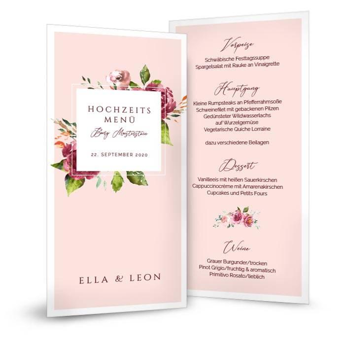 Hochzeitsmenü mit Watercolor Blumen hinter modernem Rahmen in Rosa