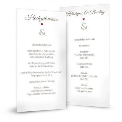Menükarte für die Hochzeit