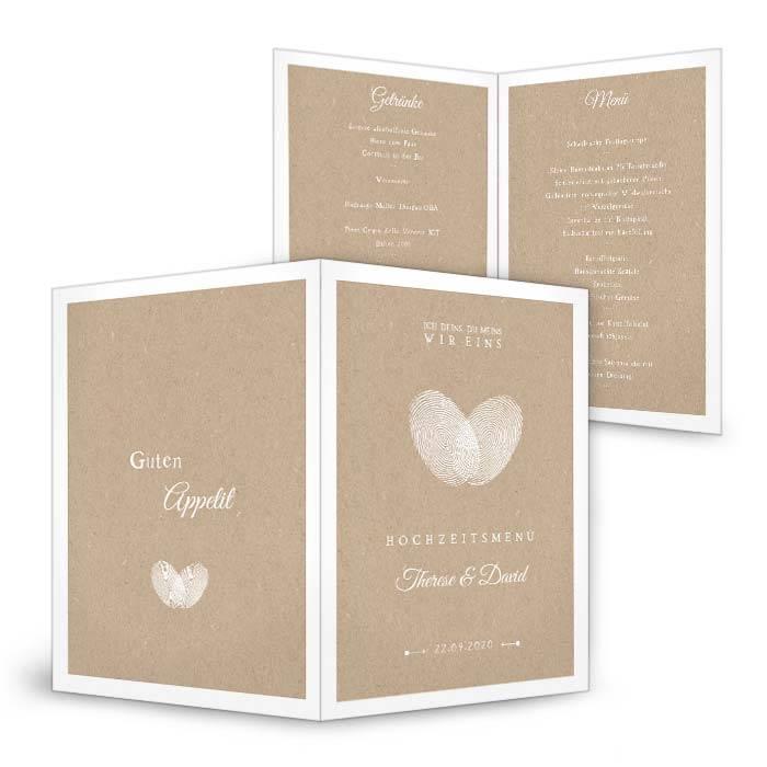Hochzeitsmenükarte in Kraftpapieroptik mit Fingerabdruck Herz