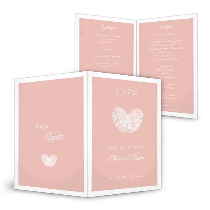 Menükarte für die Hochzeit in Rosa mit Fingerabdruck Herz