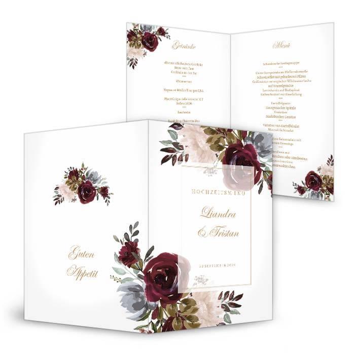 Menükarte zur Hochzeit mit Aquarell Blumen in Burgunder