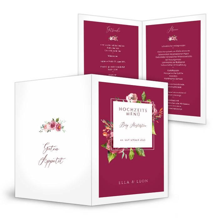 Menükarte zur Hochzeit mit Rosen und Rahmen in Burgunder