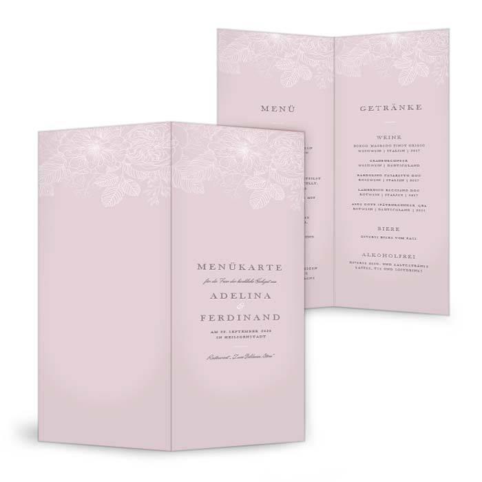 Menükarte zur Hochzeit mit zarten Blumen auf rosa Hintergrund
