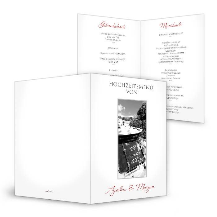 Menükarte zur Hochzeit in klassisch elegantem Weiß mit Foto