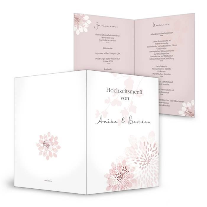Romantische Menükarte zur Hochzeit mit Blüten in Altrosa
