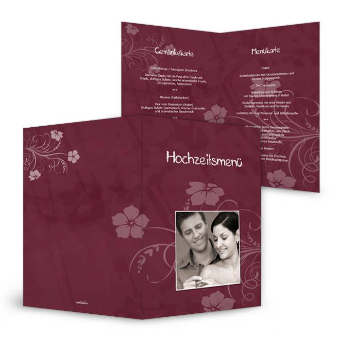 Menükarte zur Hochzeit in Bordeaux mit Blumenranken