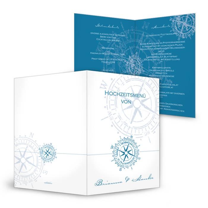 Maritime Menükarte zur Hochzeit in Blau und Weiß mit Kompass