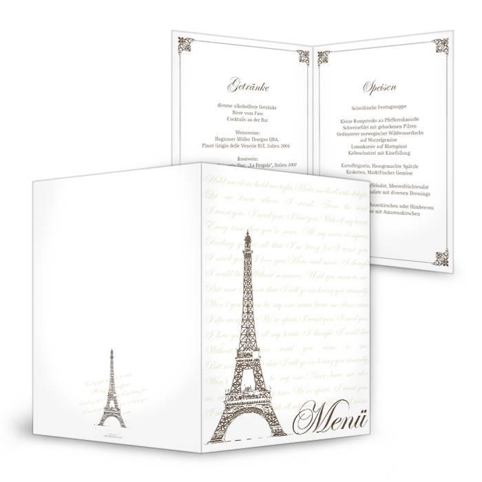 Vintage Menükarte zur Hochzeit mit Paris Flair und Eiffelturm