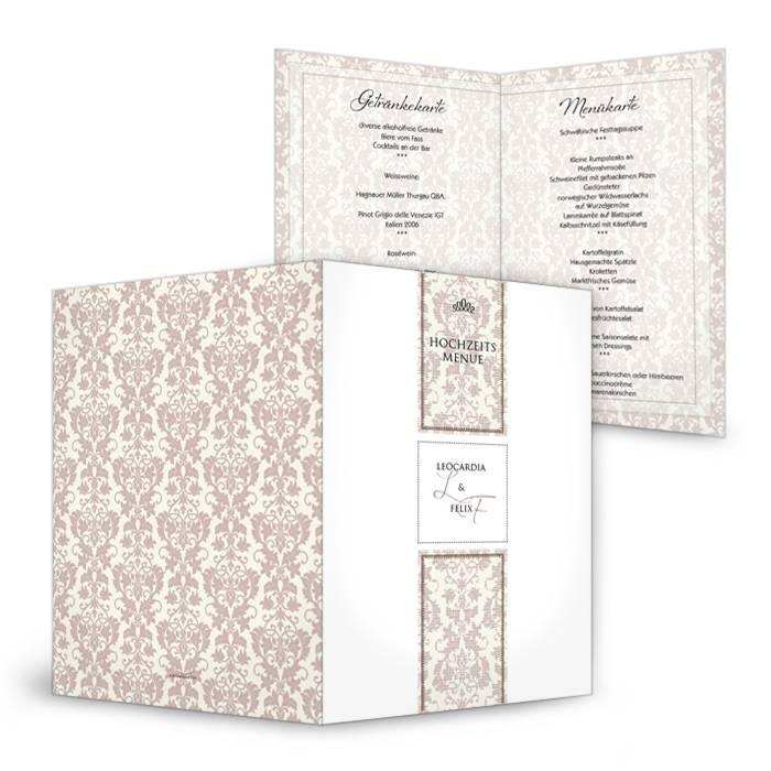 Menükarte zur Hochzeit mit barocken Ornamenten in Braun