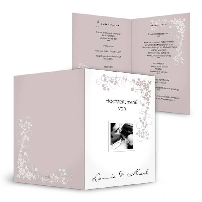 Florale Menükarten zur Hochzeit in Weiß und Altrosa