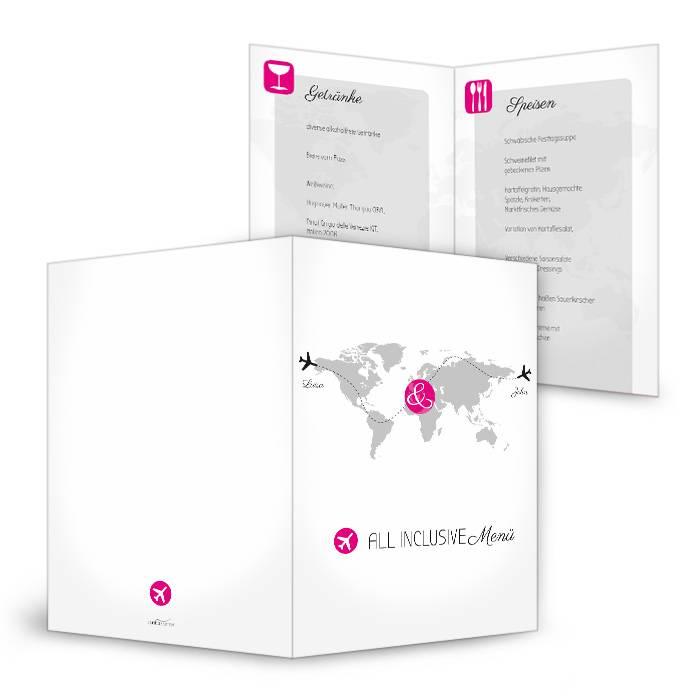 Moderne Menükarte mit Weltkarte und Flugzeug Motiv in Pink