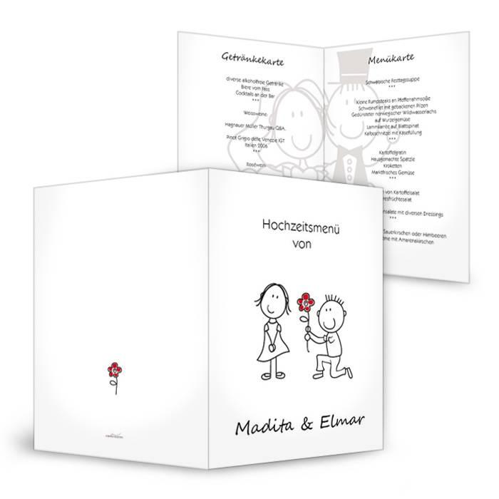 Menükarte zur Hochzeit mit Comic Brautpaar als Klappkarte