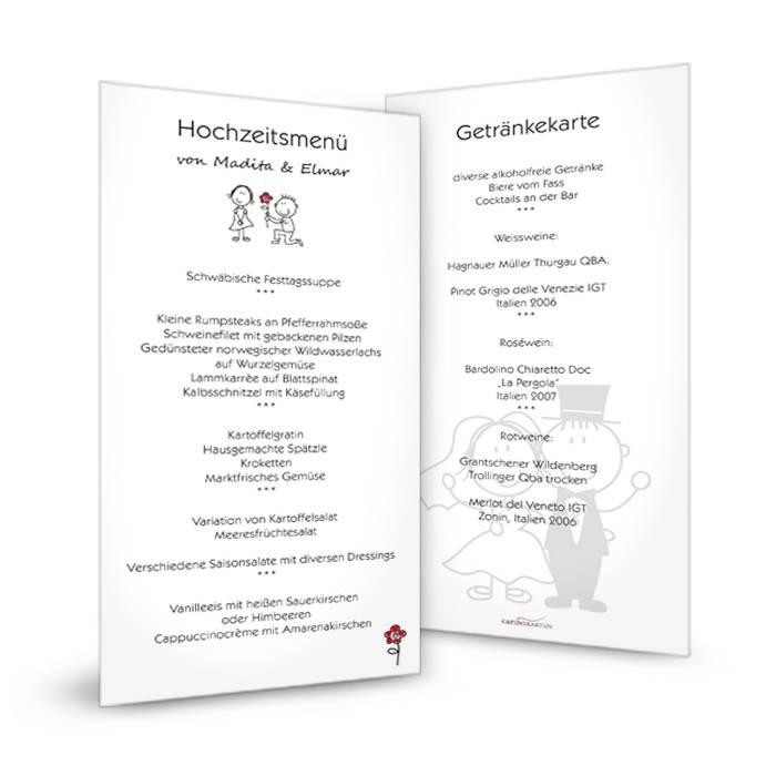 Menükarte zur Hochzeit mit Comic Brautpaar im modernen Format