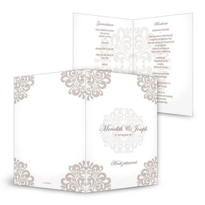 Edle Menükarte zur Hochzeit mit barocken Ornamenten in Taupe