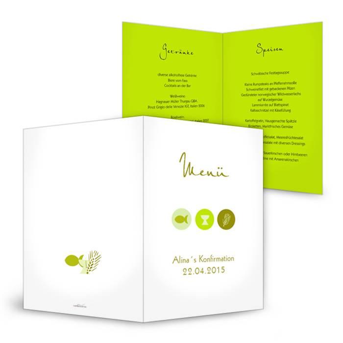 Menükarte zur Konfirmation mit christlichen Symbolen in Grün