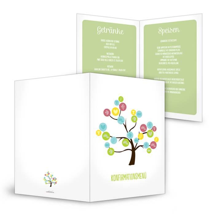 Menükarte zur Konfirmation und  Kommunion mit buntem Baum