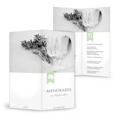 Menükarte für Kommunion / Konfirmation