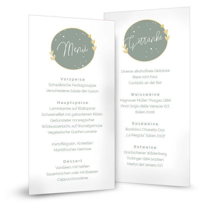 Menükarte zur Hochzeit mit Emblem und Herzen in Pastellgrün