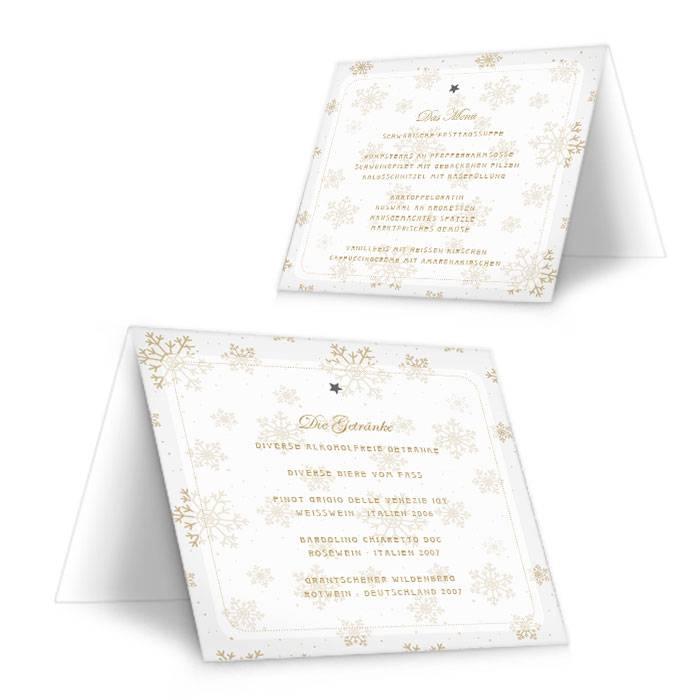 Menükarte zur Hochzeit mit goldenen Schneeflocken