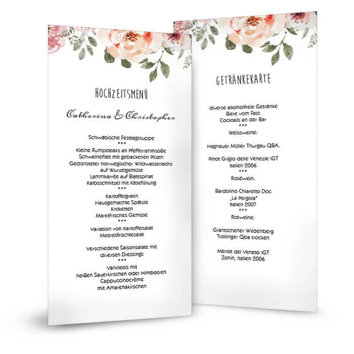 Vintage Menükarte zur Hochzeit mit Aquarellblumen