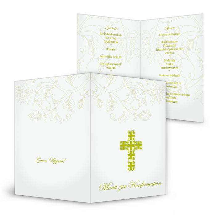 Menükarte zur Konfirmation oder Kommunion mit grünem Kreuz
