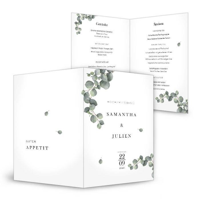 Menükarte zur Greenery Hochzeit mit Eukalyptuszweigen