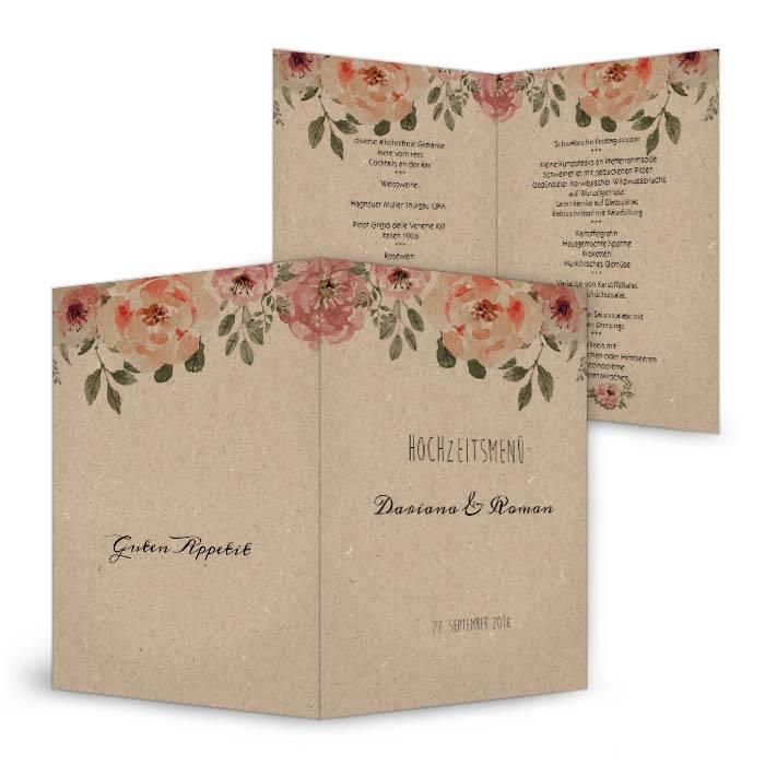 Menükarte zur Hochzeit in Kraftpapieroptik mit Aquarellblüten