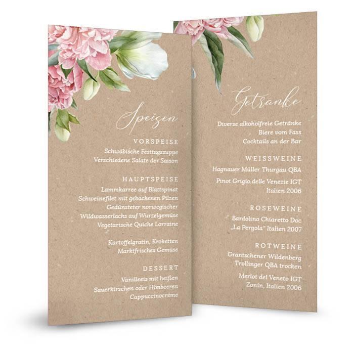 Menükarte zur Hochzeit in Kraftpapieroptik mit Pfingstrosen