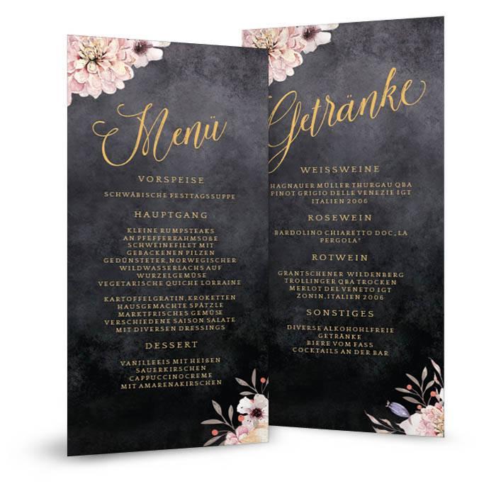 Edle Menükarte zur Hochzeit in Schieferoptik mit Blumen