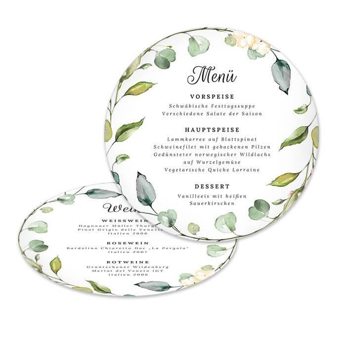 Runde Menükarte zur Hochzeit im Greenery Stil mit Blättern