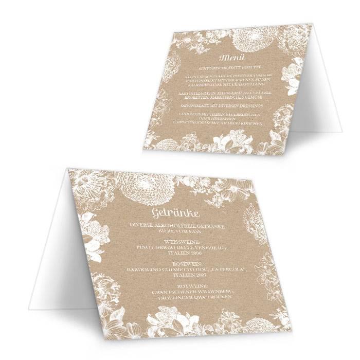 Florale Menükarte zur Vintage Hochzeit im Kraftpapierlook