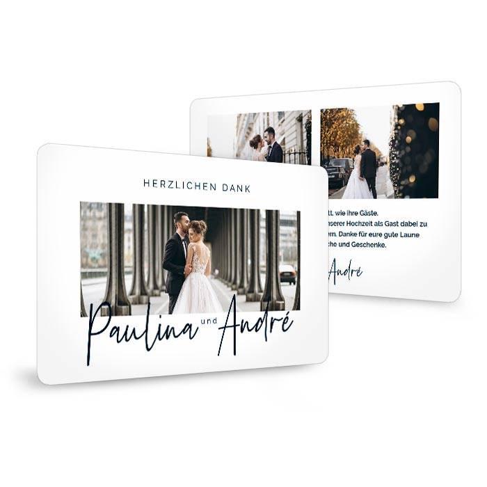 Minimalistische Hochzeitsdanksagung mit großen Fotos