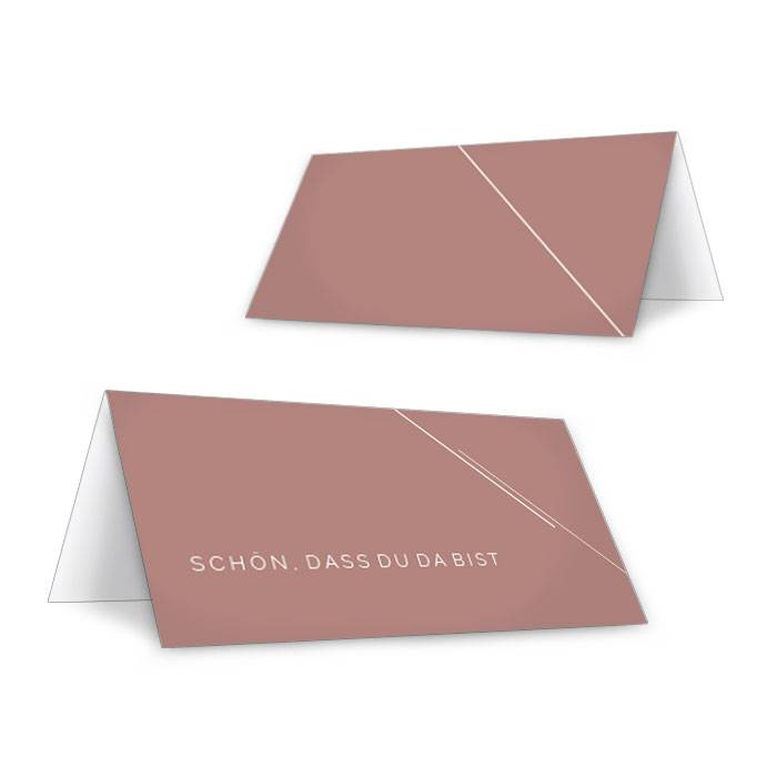 Minimalistische Tischkarten für urbane Hochzeiten