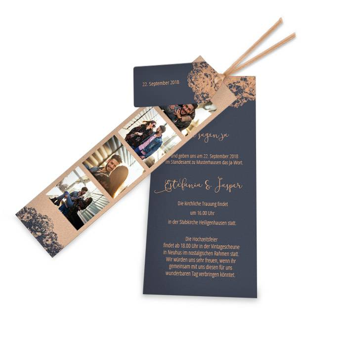 Hochzeitseinladung in Blau und Kupfer mit Fotostreifen